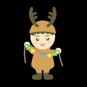 トナカイの格好をした男の子のイラスト、子供、飾り付け