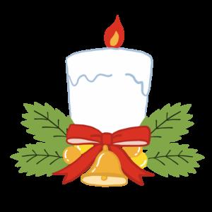 キャンドルのかわいいイラスト、クリスマス、リボン、ベル