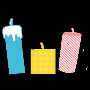 キャンドルのかわいいイラスト、オシャレ、青、黄、ピンク