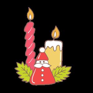 キャンドルのかわいいイラスト、クリスマス、サンタクロース