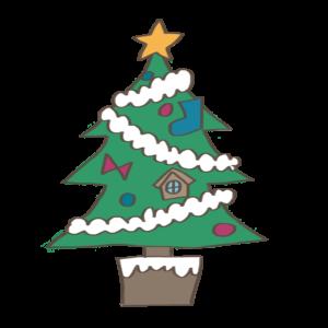 クリスマスツリーの可愛いイラスト、靴下、リボン、星、家付き