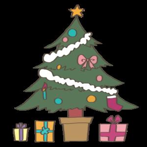 クリスマスツリーのかわいいイラスト、プレゼント、リボン、ろうそく、星、雪付き