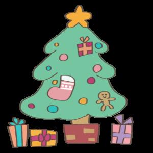 クリスマスツリーのイラスト、プレゼント、靴下、星、オーナメント付き