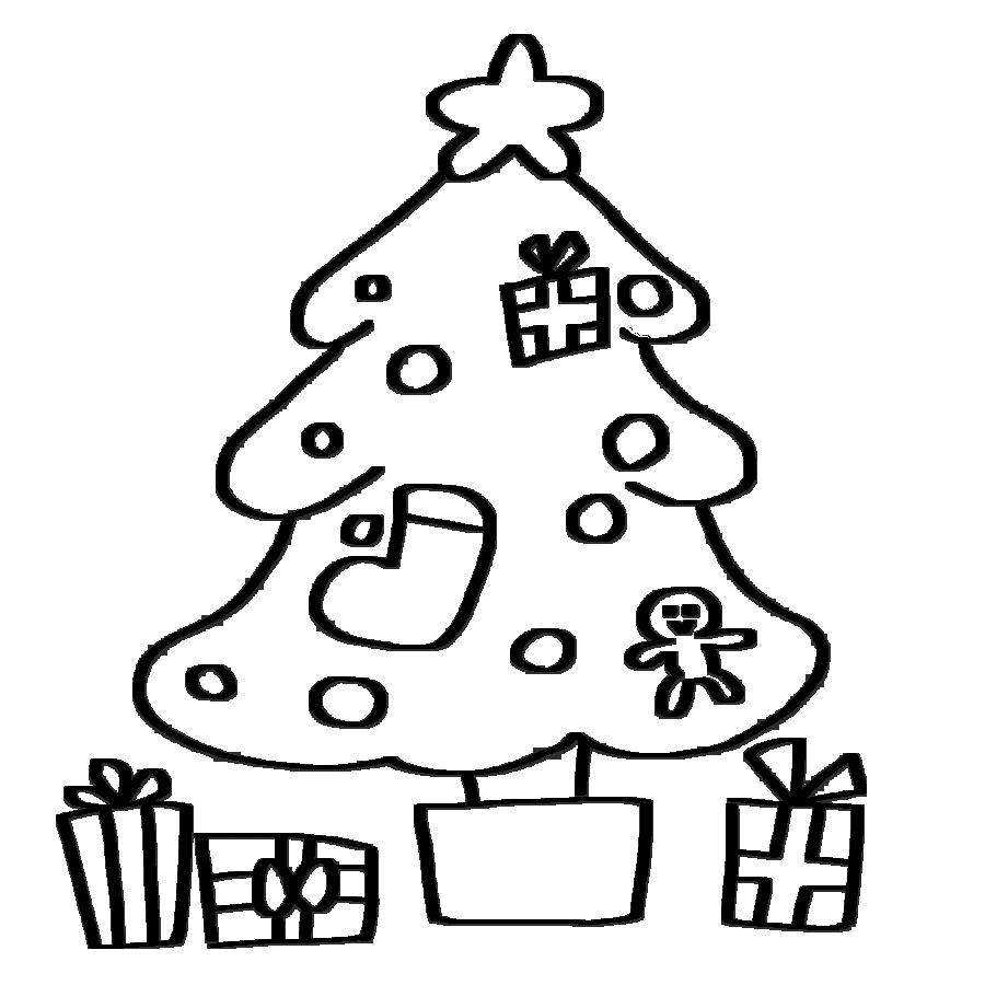 クリスマスツリーのイラスト4~白黒、モノクロ版~