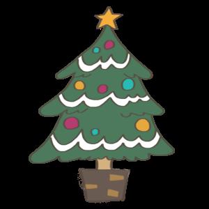 クリスマスツリーのかわいいイラスト、雪、星付き