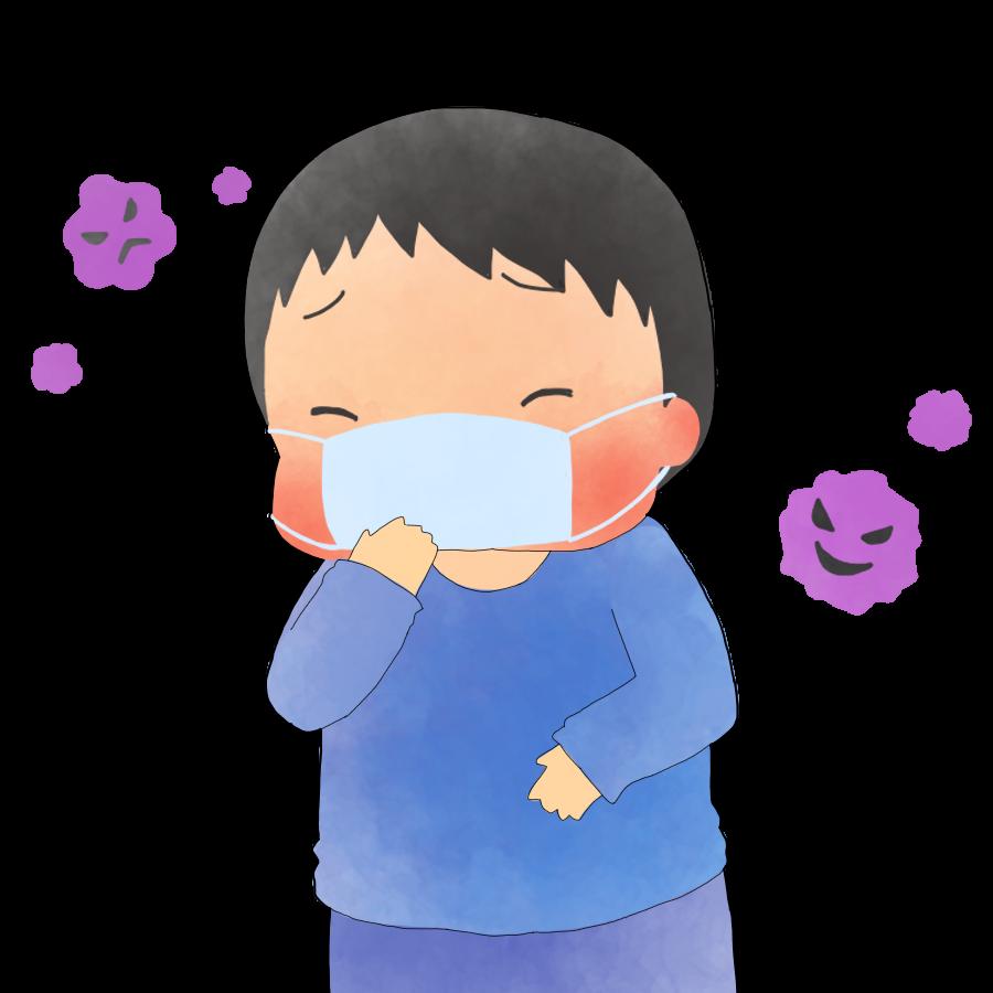 インフルエンザの子供のかわいいイラスト