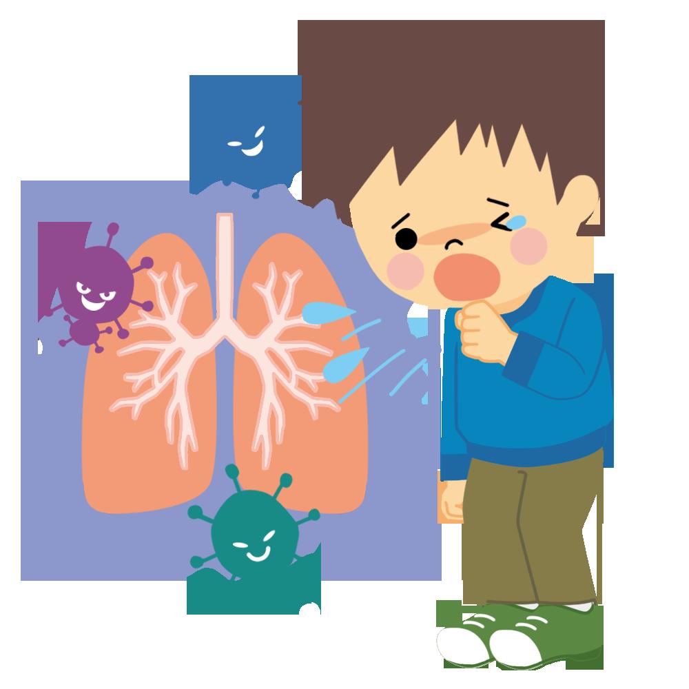 肺炎になった子供のかわいいイラスト画像素材