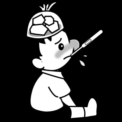 頭 冷やす イラスト 白黒 モノクロ