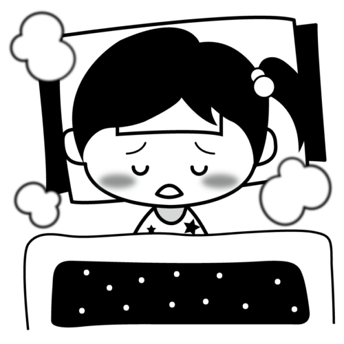 病気 寝る イラスト 白黒