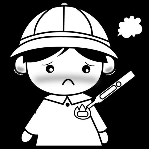 発熱 子供 イラスト 白黒 モノクロ