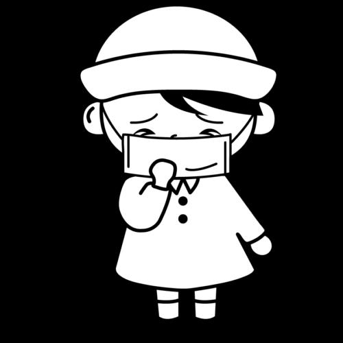 インフルエンザ マスク イラスト 白黒 モノクロ