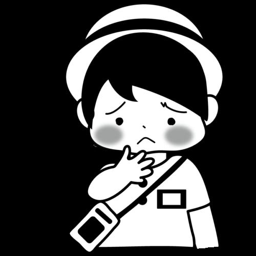 喉 痛い イラスト 白黒