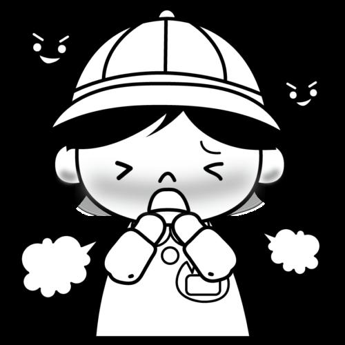 幼児 風邪 イラスト 白黒 モノクロ