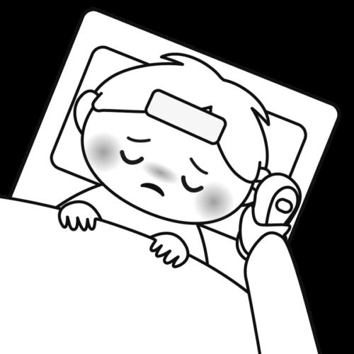 風邪 体温計 イラスト 白黒