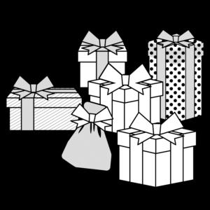 クリスマスプレゼントのかわいいイラスト、オシャレ、モノクロ、白黒