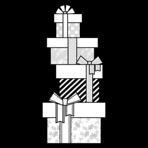 クリスマスプレゼントの可愛いイラスト、モノクロ、白黒