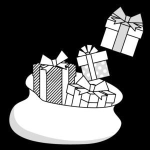 クリスマスプレゼントのかわいいイラスト、モノクロ、白黒