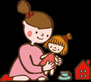お人形で遊ぶ子供のかわいいイラスト。ままごと