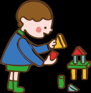 積み木で遊ぶ子供のイラスト 男の子