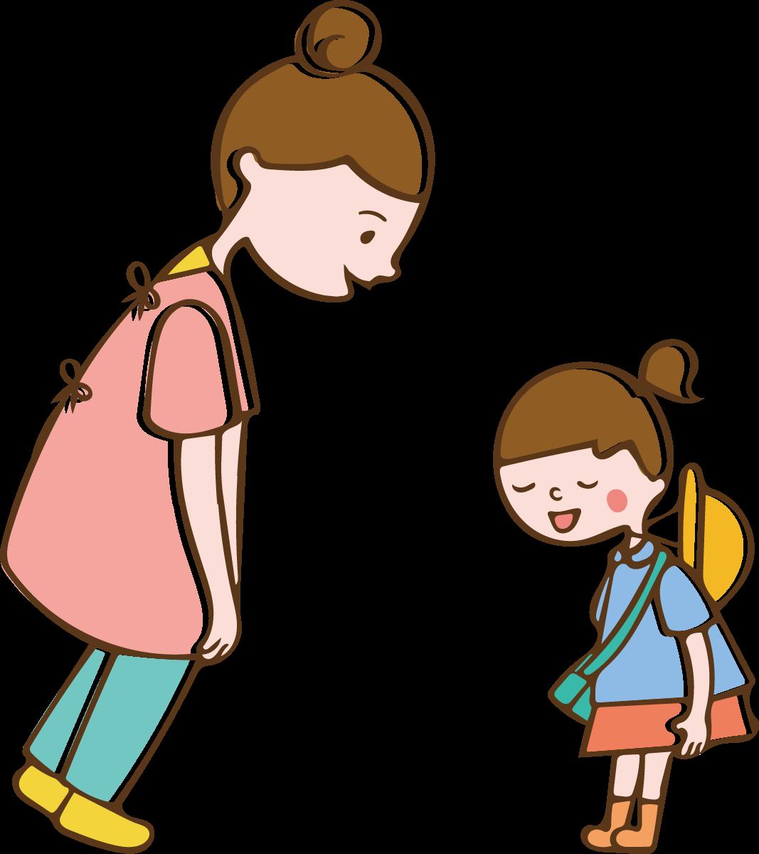 挨拶する子供のイラスト