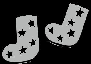 靴下 イラスト かわいい 子供 男の子 星 モノクロ 白黒
