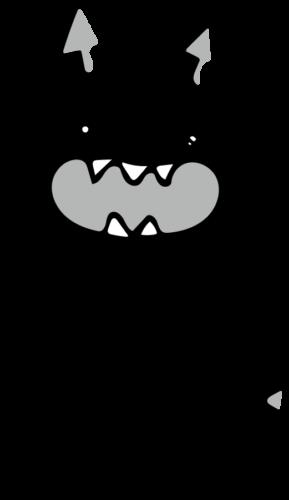 悪魔 イラスト 白黒 モノクロ