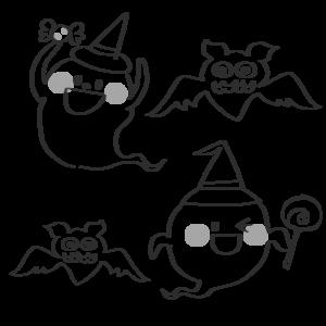 コウモリ お化け イラスト 白黒