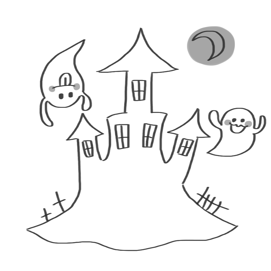 おばけとお城のイラスト~白黒、モノクロ~