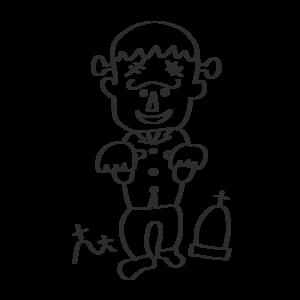 フランケンシュタイン 怪物 イラスト 白黒
