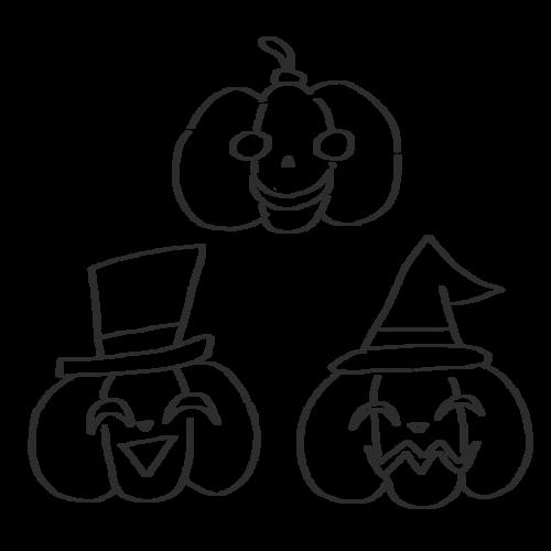 ハロウィン かぼちゃ 帽子 イラスト 白黒 モノクロ