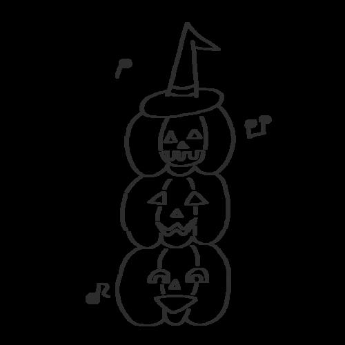 ハロウィン かぼちゃ お化け イラスト 白黒 モノクロ