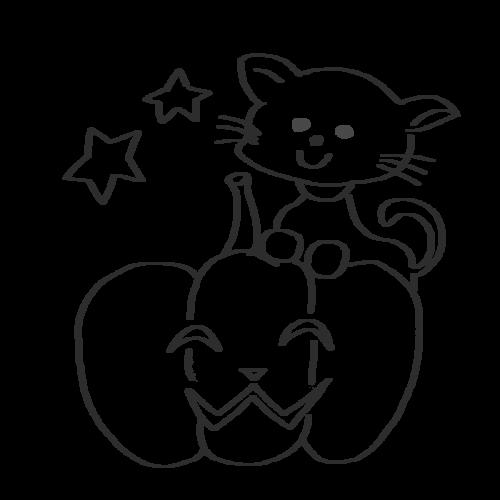 猫 かぼちゃ イラスト
