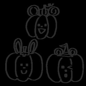 ハロウィン かぼちゃ イラスト 白黒 モノクロ