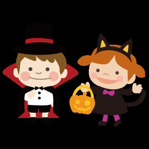 ハロウィン 仮装 猫 イラスト ドラキュラ
