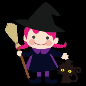 ハロウィン イラスト 魔女 猫