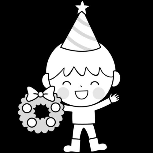 クリスマス 幼児 イラスト 白黒