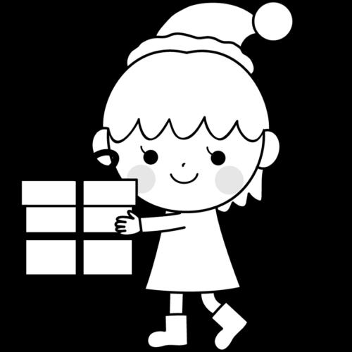 クリスマスプレゼント 子供 イラスト 白黒 モノクロ