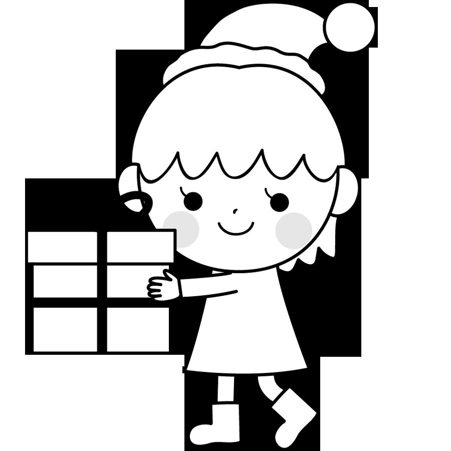 クリスマスプレゼントと子供のイラスト画像素材(白黒、モノクロ)