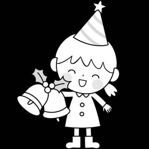 クリスマス 女の子 イラスト 白黒