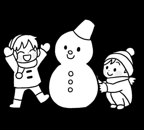 雪だるま イラスト 白黒 無料 フリー