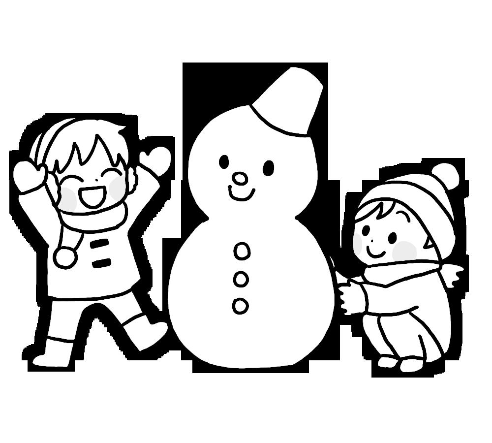 雪だるまど子供のイラスト画像素材(白黒、モノクロ)