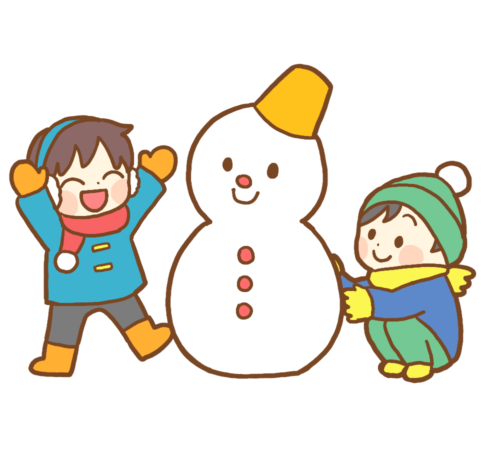 雪遊び 雪だるま イラスト かわいい