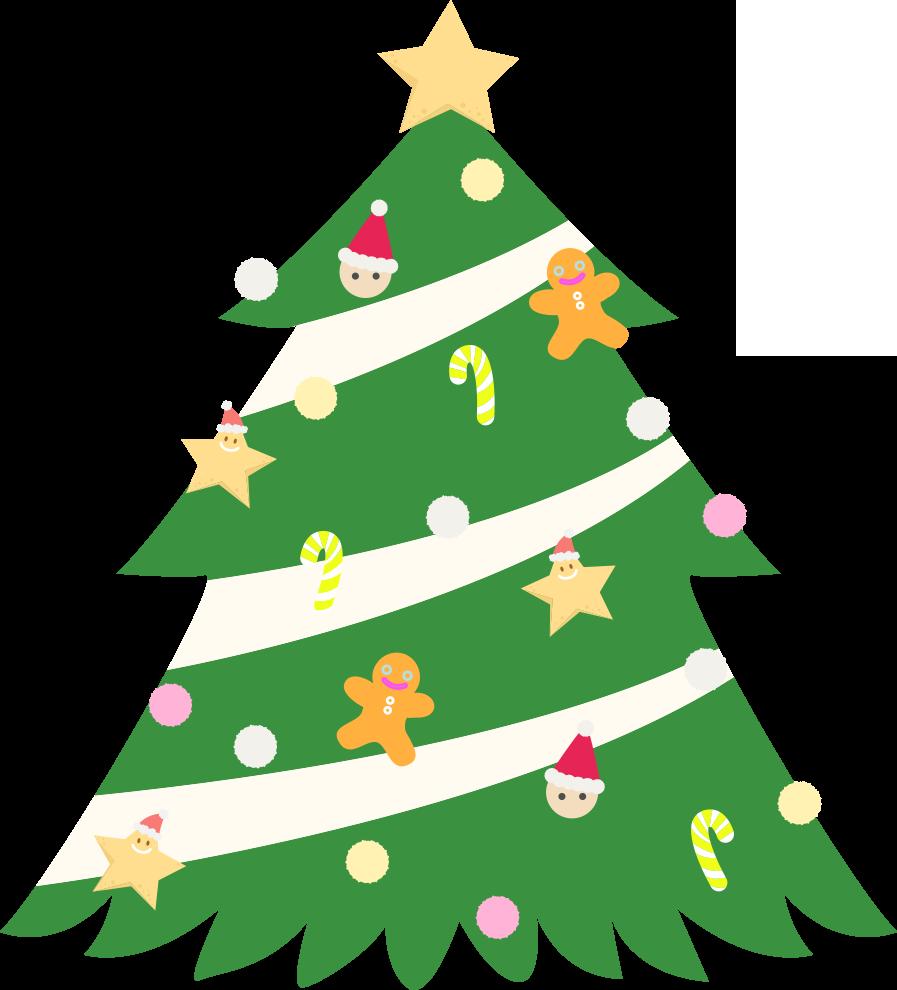 星が付いたクリスマスツリーのイラスト画像素材(フリー、無料)