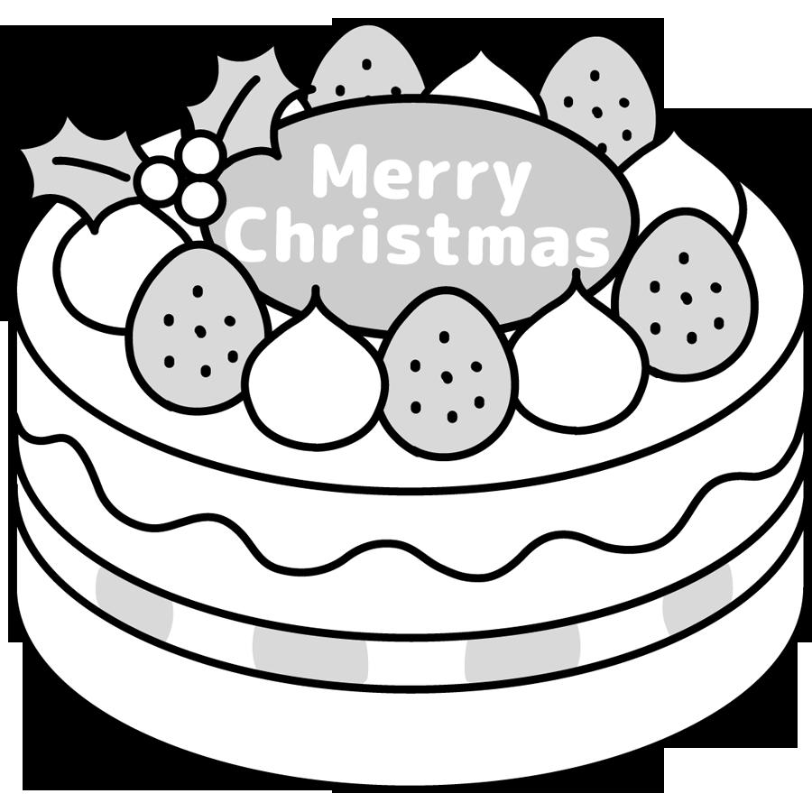 クリスマスケーキのかわいいイラスト画像素材8(白黒、モノクロ)