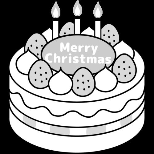 クリスマスケーキ イラスト 白黒 モノクロ