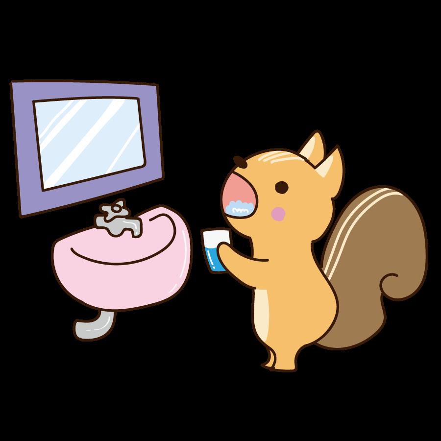 うがいをする動物(リス)のかわいいイラスト画像素材(無料、フリー)