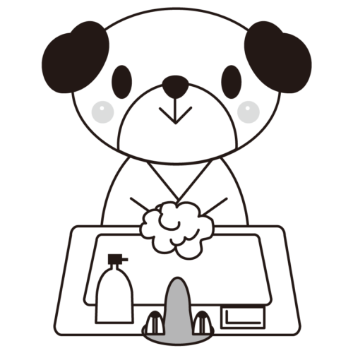 犬 手洗い イラスト 白黒 モノクロ