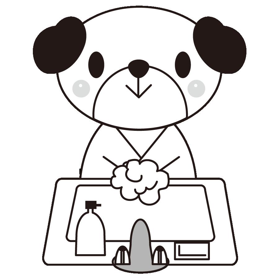 犬が手洗いするかわいいイラスト画像素材(白黒、モノクロ)