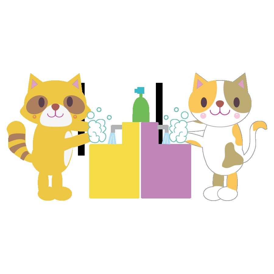 動物が手洗いするかわいいイラスト画像素材(無料、フリー)