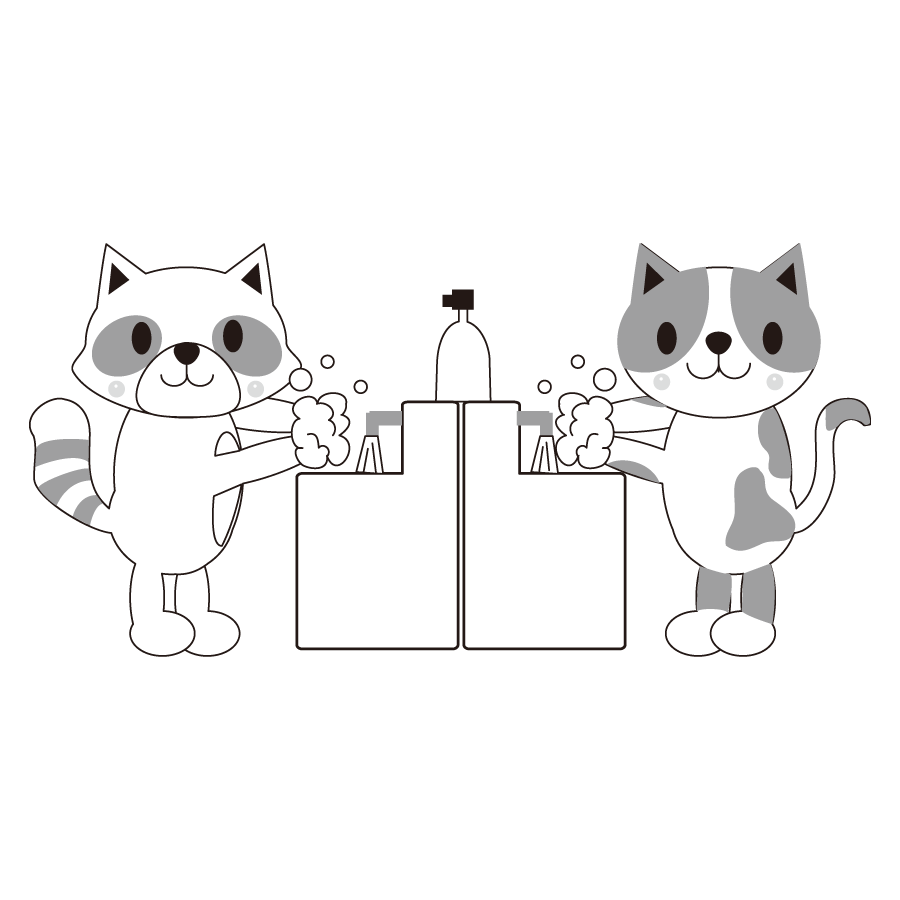 動物が手洗いするかわいいイラスト画像素材(白黒、モノクロ)